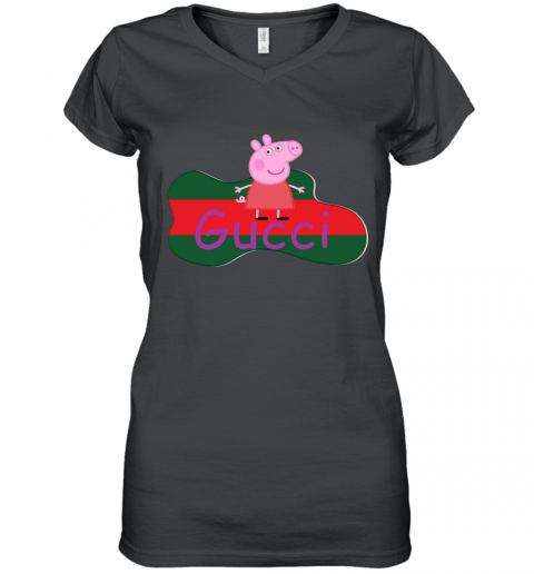 Peppa Pig Gucci Shirt Design Women's V-Neck T-Shirt