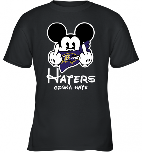 NFL Baltimore Ravens Haters Gonna Hate Mickey Mouse Disney Football T Shirt Youth T-Shirt
