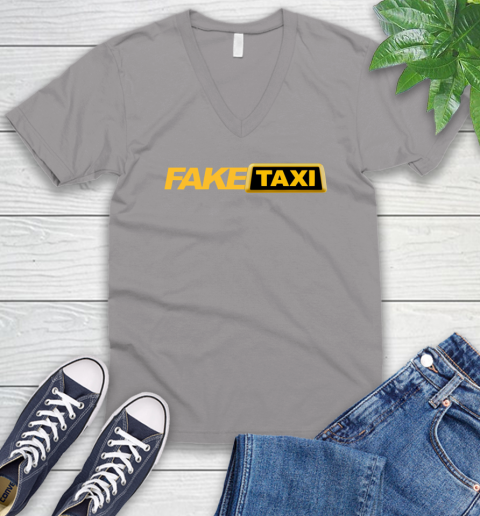 Fake taxi V-Neck T-Shirt 4