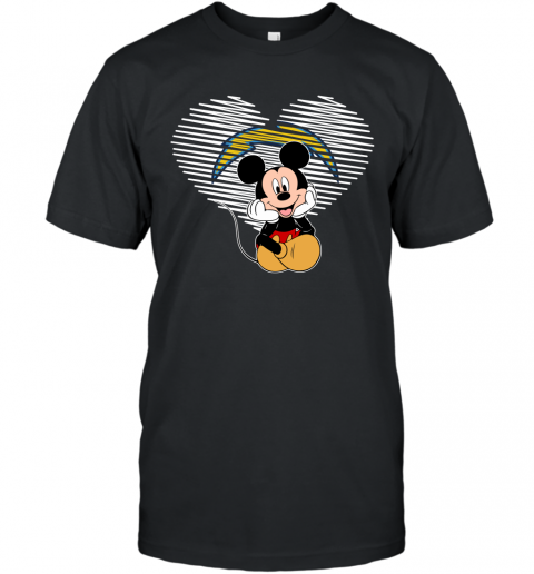 NFL Los Angeles Chargers The Heart Mickey Mouse Disney Football T Shirt T-Shirt