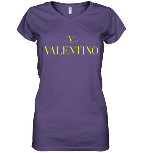 VLTN Valentino Logo Gold Premium Unisex Women's V-Neck T-Shirt