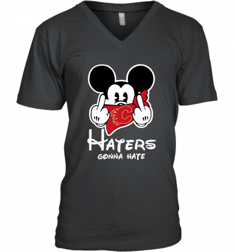 NHL Calgary Flames Haters Gonna Hate Mickey Mouse Disney Hockey T Shirt V-Neck T-Shirt