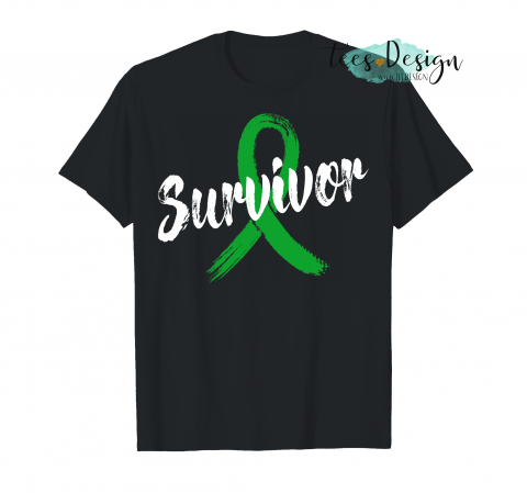 Womens Breast Cancer Awareness Survivor Pink Ribbon Gift V Neck Mental Health Awareness Green T-Shirt