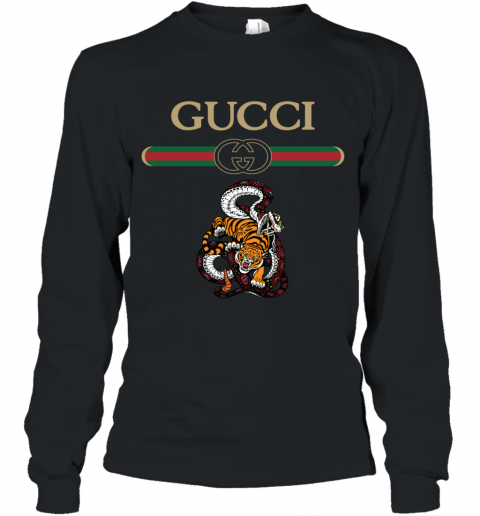 2020 Gucci Logo Fighting Snake Vs Tiger Long Sleeve T-Shirt