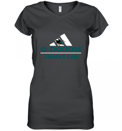 NHL A Badass San Jose Sharks Fan Adidas Hockey Sports Women's V-Neck T-Shirt