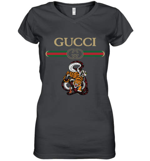 2020 Gucci Logo Fighting Snake Vs Tiger Women's V-Neck T-Shirt