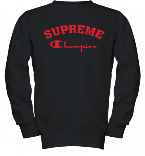 Supreme Logo x Champion Logo Red Unisex Youth Sweatshirt