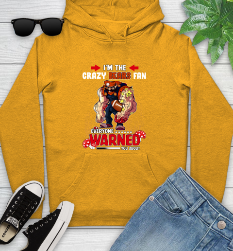 Chicago Bears NFL Football Mario I'm The Crazy Fan Everyone Warned You About Youth Hoodie 2