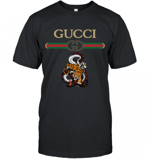 2020 Gucci Logo Fighting Snake Vs Tiger T-Shirt