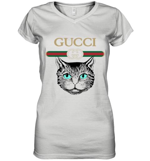 Gucci Logo Black Cat Secret Women's V-Neck T-Shirt