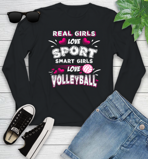 Real Girls Loves Sport Smart Girls Play Volleyball Youth Long Sleeve