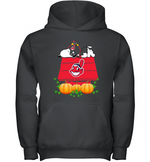 Cleveland Indians Snoopy Pumpkin House MLB shirt Youth Hoodie