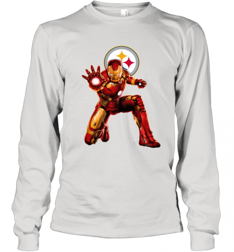 NFL Iron Man Marvel Avengers Endgame Football Sports Pittsburgh Steelers Long Sleeve T-Shirt